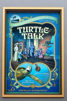 Turtle Talk Poster for Disney Walt Disney Land, Tokyo Disney Sea, Disney Rides, Disney Love, Disney Parks, Vintage Disney Posters, Disney Movie Posters, Disney World Attractions, Lord