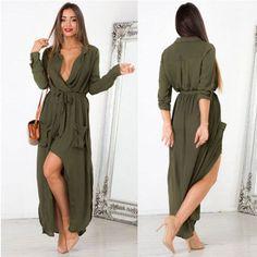 Womens-Long-Sleeve-Chiffon-Maxi-Dress-Casual-Side-Slit-Belted-Wrap-Dresses-Robe