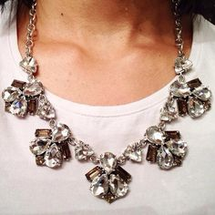 Our new Lila Necklace paired with a white tee. The perfect day to night look! | $69 Stella Dot