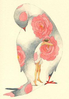 Illustration by Rie Nakajima💗 Art And Illustration, Watercolor Illustration, Street Art, Inspiration Art, Art Design, Bird Art, Oeuvre D'art, Japanese Art, Modern Art