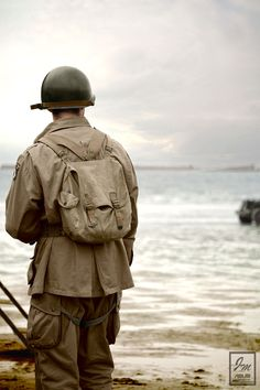 Soldier on Omaha Beach Normandy France.