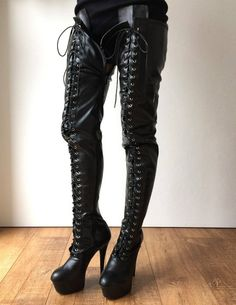 Black Thigh Boots, Thigh High Boots Heels, Platform High Heels, Black High Heels, Platform Boots, Heeled Boots, Shoe Boots, Shoes, Women's Boots