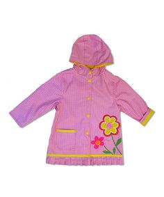 Look what I found on #zulily! Fuchsia Gingham Flower Raincoat - Infant, Toddler & Girls by Wippette #zulilyfinds