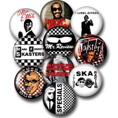 Ska button badges 10 pack pieces. Alton Ellis, Laurel Aitken, Toasters, Mr Review, Mark Foggos Skasters, Specials, Symarip, ska against racism, etc.. a must for any rudeboy, skinhead or mod... available at www.runnin-riot.com
