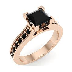 1.25 ct tw Black Princess Diamond Engagement Ring 14K Rose Gold