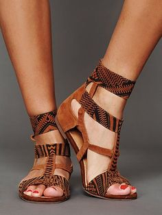 Ivy Ankle Sandal, printed and possibly embossed kid suede