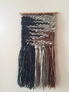 Woven Wall Hanging Weaving / Gather Handwoven Loom Weaving, Hand Weaving, Copper And Grey, Blue Weave, Woven Wall Hanging, Fiber, Design Ideas, Diy Crafts, Pattern