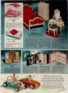 1964 Ad 3 PG Barbie Ken Accessories Car Bedroom House Studio Playroom Shop Patio | eBay