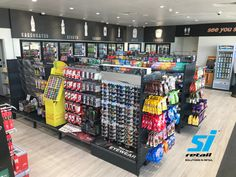 Our charcoal P&C look incredible at the new Caltex Australia service station in Morayfield! Fresh, updated, sleek and modern is the feeling you get when walking in! Retail Displays, Store Displays, Shop Fittings, Store Fixtures, 45 Years, Family Business, Shelving, Charcoal, Walking