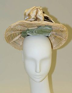 (1/3) Hat Date: 1892–93 Culture: American Medium: silk, cotton, metal Dimensions: Diameter: 3 1/2 in. (8.9 cm)