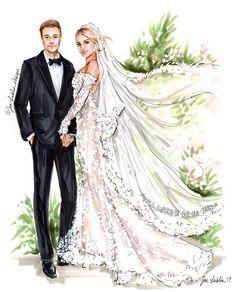 PREMIER Custom Wedding Illustration - with Background (Starting at $1, – Jen Lublin Design, LLC Hair Illustration, Wedding Illustration, Portrait Illustration, Wedding Attire, Wedding Dresses, Wedding Silhouette, Art Template, Wedding Templates, Couple Portraits