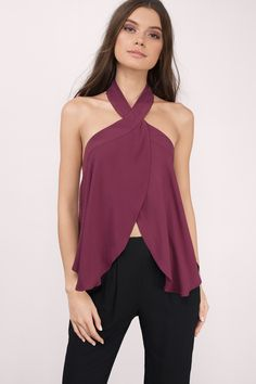 Need a new top in your life? Get the On The Rise Halter Top. Featuring a surplice front and halter neckline. Pair with jeans and booties. #shoptobi