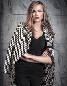 Black and White line vest