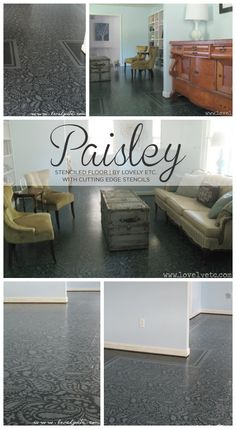 Painted and stenciled with the Paisley Allover Stencil on a plywood subfloor to get this stunning look! http://www.cuttingedgestencils.com/paisley-allover-stencil.html