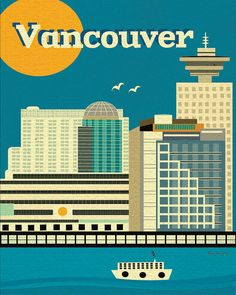 Vancouver, Canada Skyline - 8x10 poster wall art for homes, lofts, children's rooms -Vertical - style E8-O-VAN
