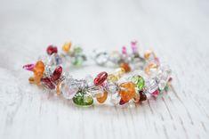 Colourful quartz bracelet - Sweetness Colorful Candy, Quartz, Beaded Bracelets, Perfume, Stud Earrings, Jewellery, Gemstones, Trending Outfits, Unique Jewelry