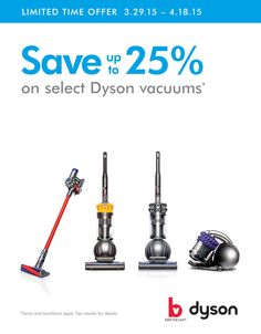 dbb5fda7861 SAVE UP TO 25% OFF Dyson Vacuum Cleaners Plus your new vacuum ships free.