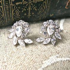 crystal encrusted spiral leaf earrings by gama weddings   notonthehighstreet.com