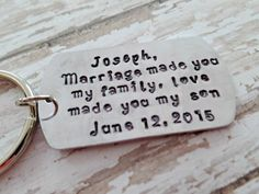 Love Made You My Son* Blended Family Gift* Blended Family Wedding* Step Son Wedding Gift* Step Son Keychain* Personalized*