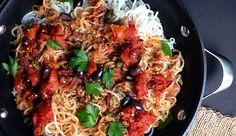 "Paleo ""Pasta"" Puttanesca   Paleo Recipes, Gluten-Free Recipes, Grain-Free Recipes   Grok Grub"