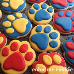 """Puppy fever today. #pawpatrol #cookies #birthday #birthdaycookies #pawprints #decoratedcookies #sugarcookies #royalicing #cookiesofinstagram #colormecookie"""