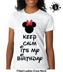Keep Calm Its My Birthday Disney Minnie Mouse With Polka Dot Bow Adult Tshirt Vneck