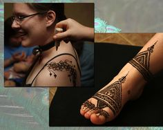 Poofing glitter on a fresh design... Moroccan style on a foot.  Crimson Art Henna