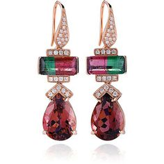 Shop One-of-a-Kind Tourmaline And Diamonds Earrings In Rose Gold. These Dana Rebecca Designs earrings feature watermelon tourmalines and diamonds in rose gold. Rose Gold Earrings, Gemstone Earrings, Diamond Earrings, Modern Jewelry, Fine Jewelry, Jewelry Box, Dana Rebecca, Bling, Tourmaline Jewelry