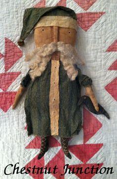 SANTA CLAUS...primitive christmas doll...crow by chestnutjunction, $18.99