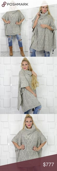 CHUNKY KNIT PONCHO SWEATER Brand new Boutique item  Get this cozy oversize chunky knit poncho sweater with a cowl/turtle neckline for your fall/winter wardrobe!! So comfortable and easy to grab and go.   Material 90% ACRYLIC 5% NYLON 5% WOOL One size . Sweaters Shrugs & Ponchos
