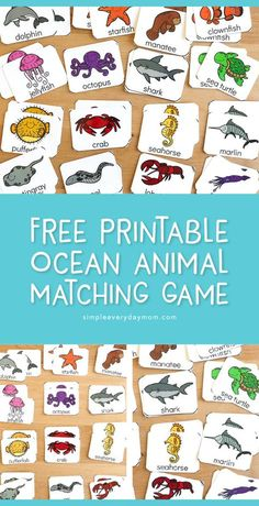 Free Printable Ocean Matching Game For Kids Supplement your under the sea unit studies with this fun ocean animal matching game Its great for preschool kindergarten and. Matching Games For Toddlers, Animal Matching Game, Sea Activities, Toddler Activities, Animal Activities For Kids, Preschool Printables, Preschool Kindergarten, Printable Games For Kids, Printable Animals