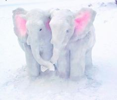 Snow Art, Ice Sculptures, Snow And Ice, Animals, Snowmen, Elephants, Artists, Animaux, Snowman