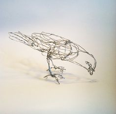 Little Dove OrnamentWire Drawing Bird Sculpture by sugarsusan, $35.00