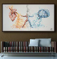 Heart vs. Brain conflict Painting 67 Original oil