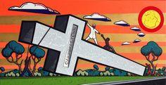 Xenophobia Begins with C by Adam (aka Blak Douglas) Hill at the Australian Aboriginal Art Directory Gallery. Adam Hills, Aboriginal Artists, Year 8, Australian Artists, Creative Art, Landscape Paintings, Gallery, Artwork, Beautiful