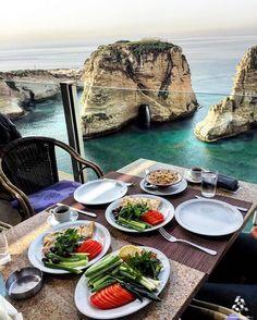 Yummy #Lebanese breakfast and the #Rawche view  Good morning! By @fi_bladi #WeAreLebanon  #Lebanon