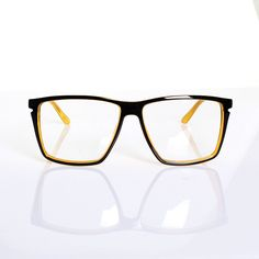 7d076a8472 Mens Womens Retro Nerd Clear Lens Glasses Black Yellow Frame Spectacles