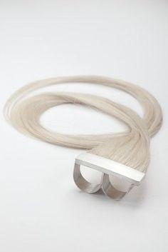 Sterling Silver Knuckle Ring w/ Human Hair - Polly van der Glas - http://vanderglas.com.au/ - - https://www.etsy.com/people/vanderglas