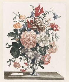 Anonymous | Five Prints of Flowers in Glass Vases, Anonymous, Jean Baptiste Monnoyer, Johan Teyler, 1688 - 1698 |