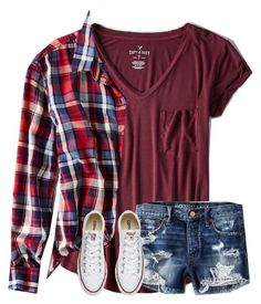 """Untitled #4588"" by laurenatria11 ❤ liked on Polyvore featuring American Eagle Outfitters and Converse"