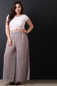 Description This plus size pants features a geometric print chiffon fabrication, elasticized waist band, and airy wide legs design. Partially lined. Accessories sold separately. 100% Polyester. Measurement Size Waist Hip Length Inseam 1X 18 24 40 26 2X 19 25 41 26.25 3X 20 26 42 26.5 | Shop this product here: spree.to/an8n | Shop all of our products at http://spreesy.com/Plus-sizefashion | Pinterest selling powered by Spreesy.com