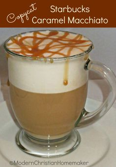 Copycat Starbucks Caramel Macchiato - I can fix this with no sugar other than a small, small drizzle of caramel on top !