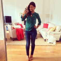 Mimi Ikonn   Polka dot top, j crew outfit, skinny navy jeans