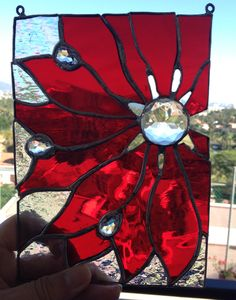 Small stained glass poinsettia - donated to P.A.T.A.