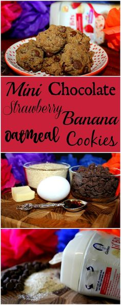 Mini Chocolate Strawberry Banana Oatmeal Cookies Perfect for Little Hands #ad #CookingWithGerber: