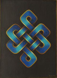 Noeud Infini Bleu (Endless Blue Knot) by Françoise Le Mée Irish Symbols, Buddhist Symbols, Celtic Symbols, Celtic Art, Celtic Knots, Celtic Patterns, Celtic Designs, Motifs Islamiques, Motifs Art Nouveau