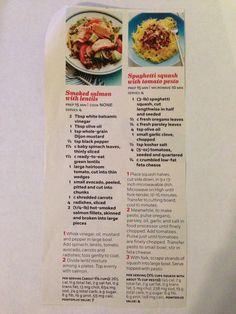 Smoked salmon with lentils. Spaghetti squash with pesto