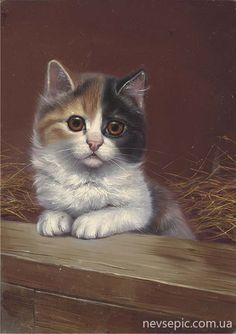 """Calico, """"A New Friend"""" -- by Bessie Bamber (English, active from 1900--1910)"""