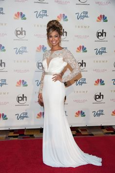 At the 2013 #MissUSA Competition, Miss Teen USA Logan West wore an incredible white embroidered @Sherri Levek Hill gown. Repin if you love her classy, stunning look and the gorgeous design! #fashion #redcarpet