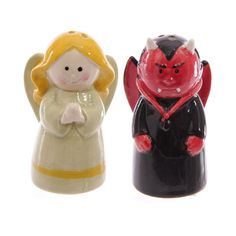Hoodoo Altar Statue Apothecary Jars - Fun Novelty Ceramic Salt and Pepper Sets Styles Available! Lisa Parker, Angel And Devil, Salt And Pepper Set, Apothecary Jars, Memorial Gifts, Salt Pepper Shakers, Novelty Gifts, Trinket Boxes, Spice Things Up